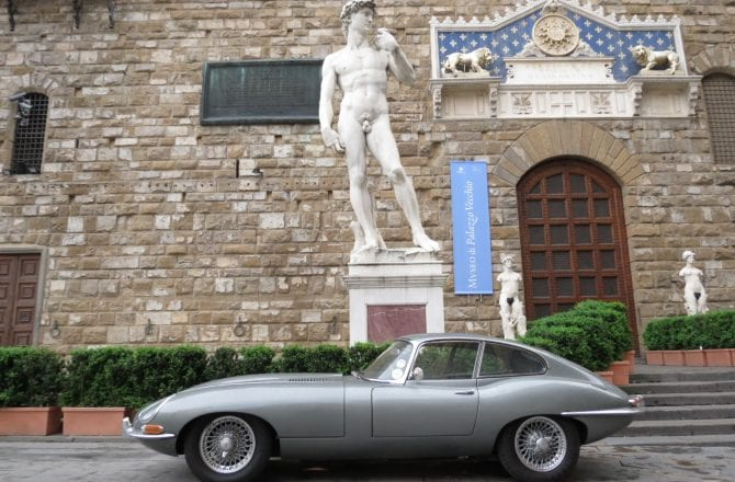 Jaguar E-type in Florence, Italy